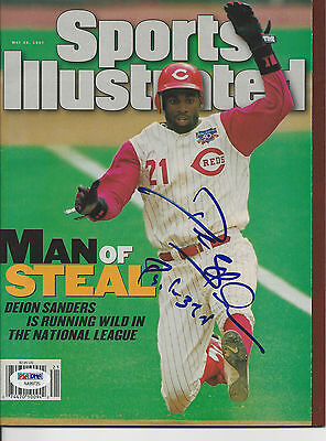 DEION SANDERS (Reds) Signed SPORTS ILLUSTRATED with PSA COA (NO Label)