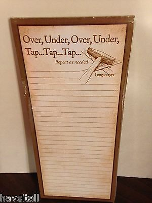 Longaberger Grocery Pad - Magnetic Back - Over, Under, Tap-Tap-Tap - NEW in pkg