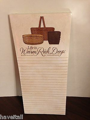 Longaberger Grocery Pad - Magnetic Back - Warm, Rich & Deep - NEW in package