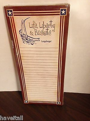 Longaberger Grocery Pad - Magnetic Back - Life, Liberty & Baskets - NEW in pkg