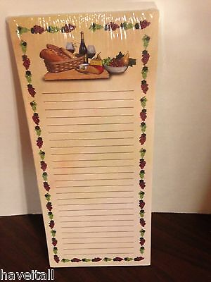 Longaberger Grocery Pad - Magnetic Back - Wine Motif - NEW in pkg
