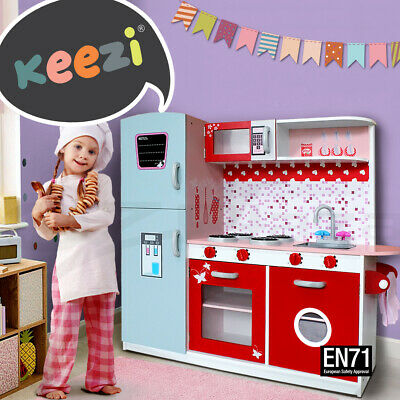 Keezi Kids Kitchen Set Pretend Play Wooden Toys Cooking Cookware Childrens Toy