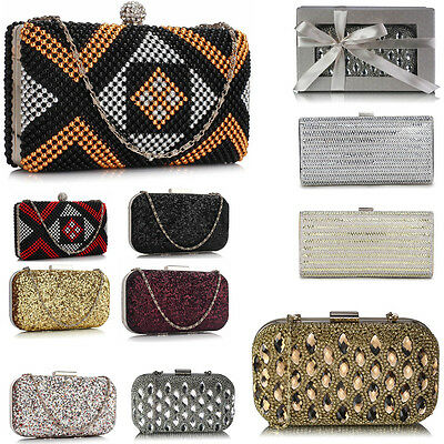 Women's Diamante Beaded Clutch Evening Bags Wedding Night Out Party Prom Purses