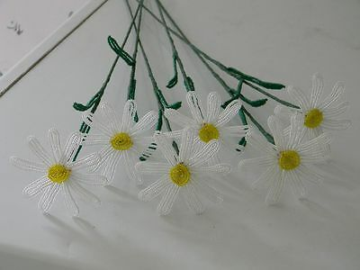 6 NEW French beaded Flowers Handmade white daisies DAISY spring flower stems