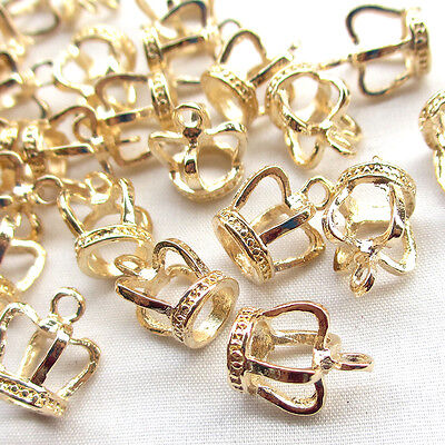 50PCS 3D Gold Alloy Crown Charm Pendant Jewelry Finding Lots J1888