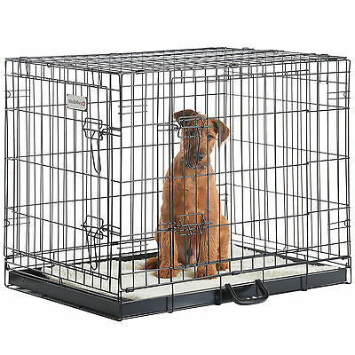 Milo & Misty Pet Cage 2 Door Folding Metal Carrier with Tray in Various Sizes