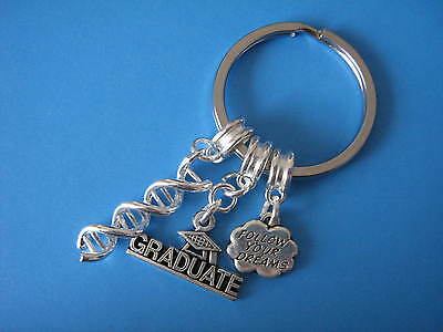 Graduation Gift Biology DNA Double Helix Charm Keyring Inspirational Keychain