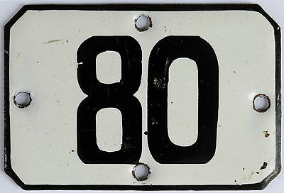 Railway carriage house number 80 door gate plate plaque enamel steel metal sign