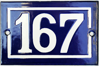 Old blue French house number 167 door gate plate plaque enamel steel metal sign