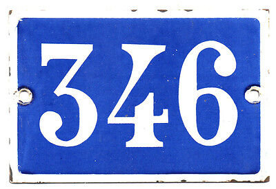 Old blue French house number 346 door gate plate plaque enamel steel metal sign