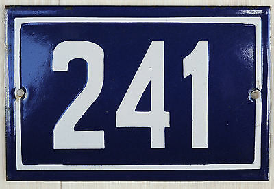 Old blue French house number 241 door gate plate plaque enamel steel metal sign