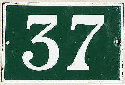 Green French house number 37 door gate plate plaque enamel steel metal sign