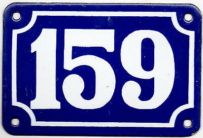 Old blue French house number 159 door gate plate plaque enamel steel metal sign