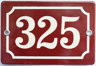 Brown French house number 325 door gate plate plaque enamel steel metal sign
