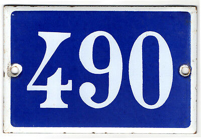 Old French house number 490 door gate plate plaque enamel steel metal sign