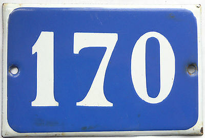 Old blue French house number 170 door gate plate plaque enamel steel metal sign