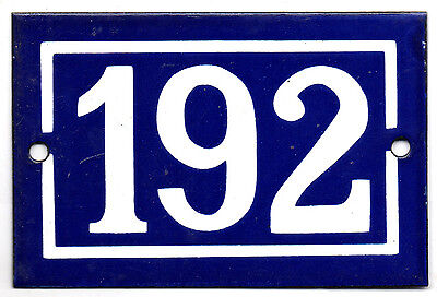 Old blue French house number 192 door gate plate plaque enamel steel metal sign
