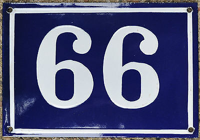 Large old French house number 66 99 door gate plate plaque enamel steel sign