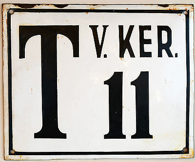 Large old Hungarian house number 11 door gate plate plaque enamel metal sign