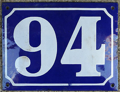 Large old French house number 94 door gate plate plaque enamel steel metal sign