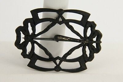 ANTIQUE VICTORIAN Jewelry BUCKLE SASH PIN BROOCH BLACK PAINTED
