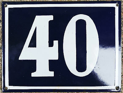 Large old blue French house number 40 door gate plate plaque enamel steel sign