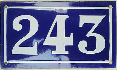Large old blue French house number 243 door gate plate plaque enamel metal sign