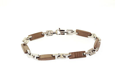 White & Chocolate ( Copper-Tone ) Ion Plated Stainless Steel 7mm Bracelet