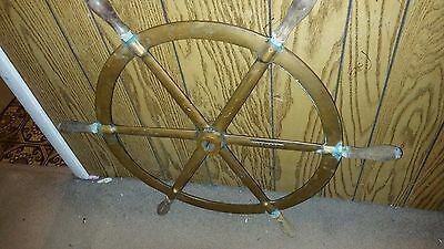 "Antique Solid Brass 36"" Ships Wheel  Teak Handles Numbered"
