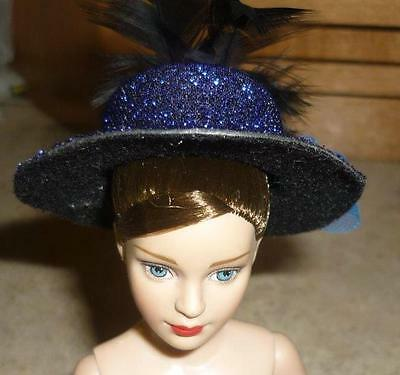Dk Blue Shimmery Hat w/Plume,Bow w/Accent Stone for Tiny Kitty Doll