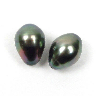 Perfectly Matching Pair Drilled 10.8mm Tear Drop Loose Tahitian Black Pearls