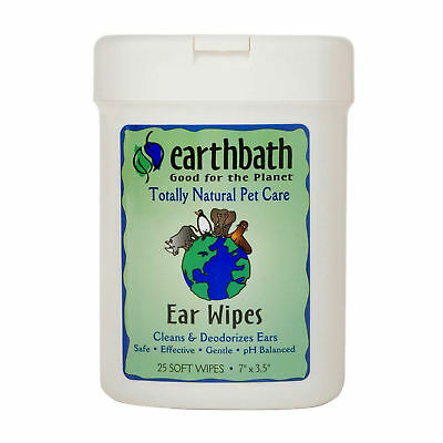 EarthBath All Natural Specialty Ear Wipes 25 All Natural Wipes Dogs Cat Pet Care