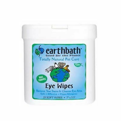 EarthBath All Natural Specialty Eye Wipes 25 All Natural Wipes Dogs Cat Pet Care