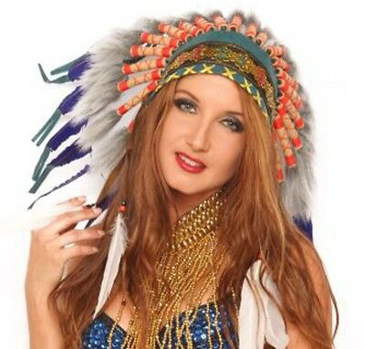 Native Ameican Indian Chief Feather Headdress Head Dress Costume Unisex