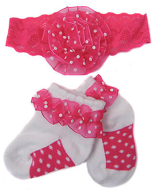 Baby Headband and Frilly Socks set Pink Cerise or Red polka Dots on White socks