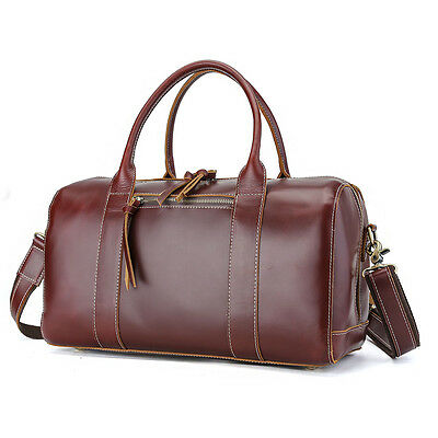 Gents Women Real Leather Small Travel Bag Shopping Gym Suitcase Weekend Luggage