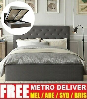 Chester Gas Lift Double Queen King Size Grey Charcoal Biege Fabric Bed Frame