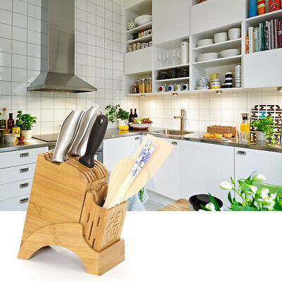 Multi-functional Bamboo Knife Rack Kitchen Tool Rest Cutter Storage Holder Block