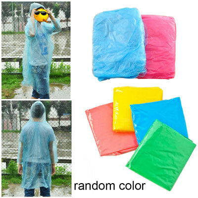 10pcs Disposable Waterproof Adult Rain Coat Poncho Outdoor Hiking Camping Hood