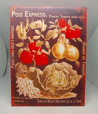 French Vintage Style Metal Advertising Sign Wall Plaque - Vegetables - Kitchen