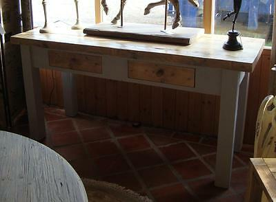 Wood Console Table with 2 Drawers - Reclaimed Wood Top - 183cm - Painted Base