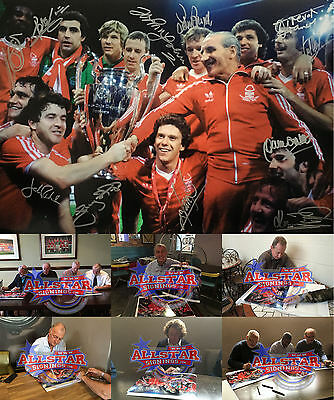 "FULLY SIGNED NOTTINGHAM FOREST 1979 EUROPEAN CUP 16""x20"" FOOTBALL PHOTO PROOF"
