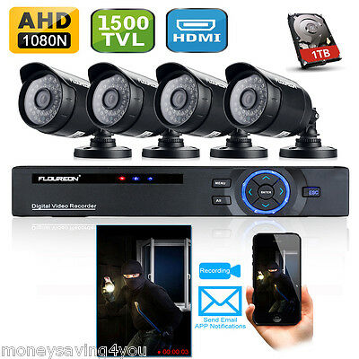 8CH CCTV DVR 1500TVL Video Cameras Home Security System Kit with 1TB Hard Drive