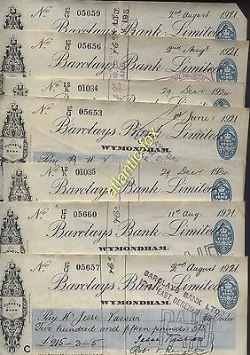 1921 Cheques X 14 issued BARCLAYS BANK (Gurneys) WYMONDHAM Branch Norfolk