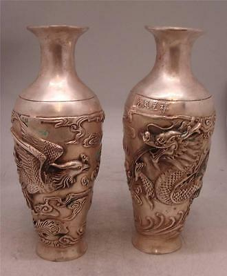 Pair of Chinese Bronze Vases with Silver Patina - 27cm High - Dragon & Phoenix