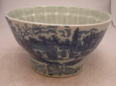 Pottery Blue & White Pattern Town Scene Jelly Mould - IRONSTONE Backstamp
