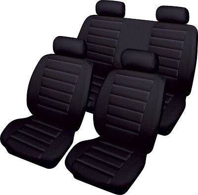 FIAT 500 Leatherlook Universal Full Set of Car Seat Covers in BLACK