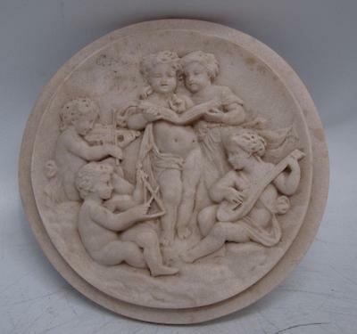 Five Musical Cherubs Marble Wall Plaque - 16.5cm Diameter