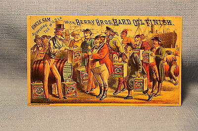 Uncle Sam Berry Bros. Hard Oil Finish Victorian Advertising Trade Card / Detroit