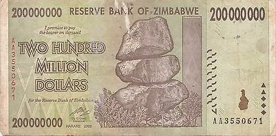 Zimbabwe 200 Million Dollar Note CIRCULATED AA/2008  / $100 Trillion Series